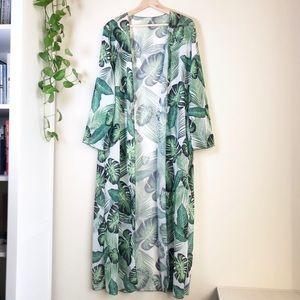 Floor Length Tropical Plant Print Duster Robe S
